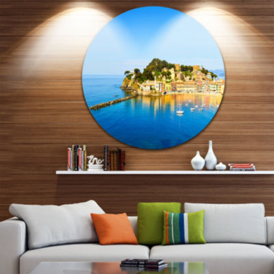 Designart Sestri Levante Silence Bay Sea Extra Large Seashore Metal Circle Wall Art