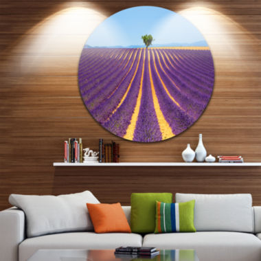 Designart Lonely Uphill Tree in Lavender Field Oversized Landscape Wall Art Print
