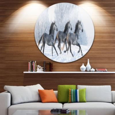 Designart Herd of Horses Run Across Snow LandscapePrint Wall Artwork