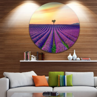 Designart Lavender Flower Rows in Provence Oversized Landscape Wall Art Print