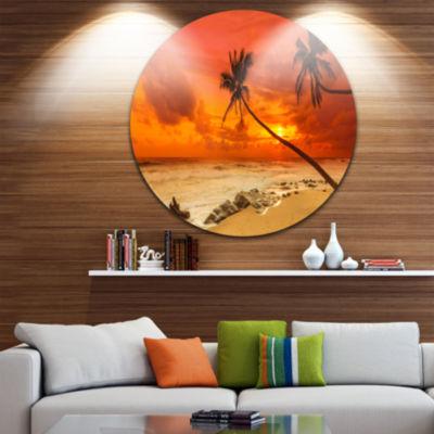 Designart Palms Silhouettes Bent to Seashore ExtraLarge Seashore Metal Circle Wall Art