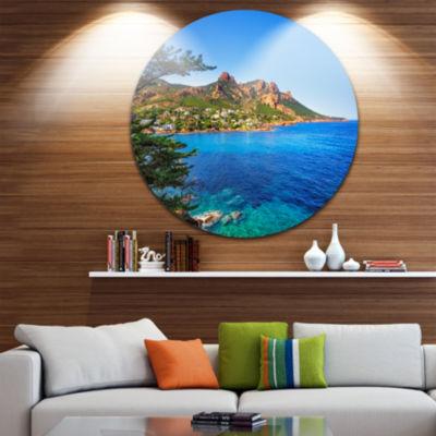 Designart Esterel Rocks Beach Coast in Blue ExtraLarge Seashore Metal Circle Wall Art