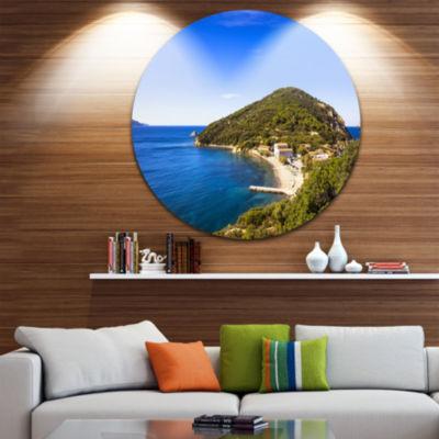 Designart Blue Seashore at Elba Island Extra LargeSeashore Metal Circle Wall Art