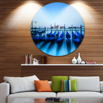 Design Art Venice Gondolas at Blue Sunset Extra Large Seashore Metal Circle Wall Art
