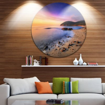 Designart Sunset in Cala Violina Bay Beach ExtraLarge Seashore Metal Circle Wall Art