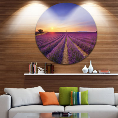 Designart Lavender Field in Provence France Oversized Landscape Wall Art Print
