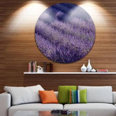 Designart Lavender Field and Ray of Light Oversized Landscape Wall Art Print