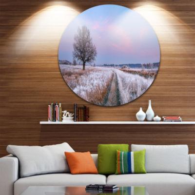 Designart Dry Oak Tree in Winter Panorama Landscape Print Wall Artwork