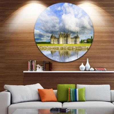 Designart Chateau De Chambord Castle and Reflection Extra Large Seashore Metal Circle Wall Art