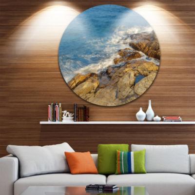 Designart Rocky Hong Kong Seashore Extra Large Seashore Metal Circle Wall Art