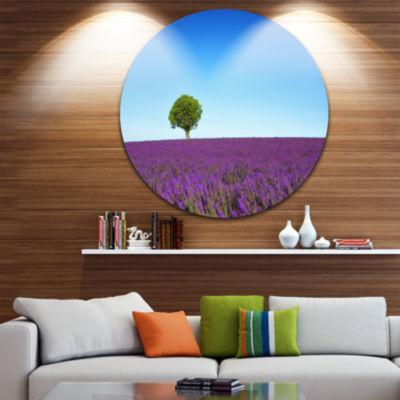 Designart Green Tree among Lavender Flowers Oversized Landscape Wall Art Print