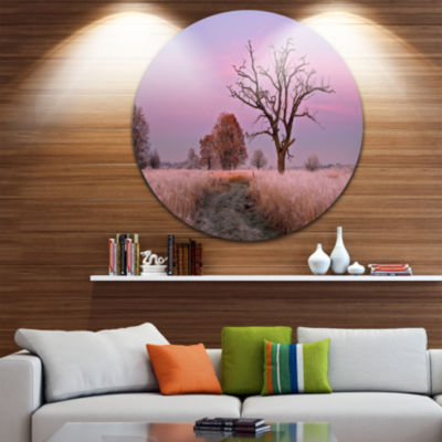 Designart Fairy Autumn Sunrise with Lonely Tree Landscape Print Wall Artwork