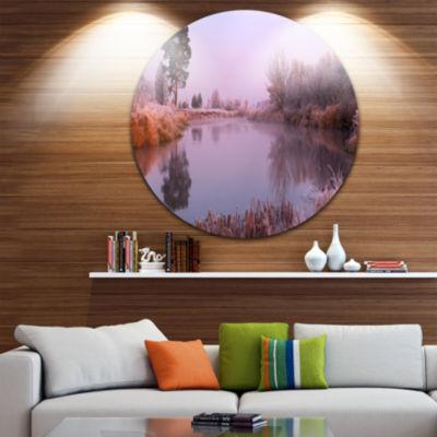 Designart Misty Autumn Sunrise Over River Landscape Print Wall Artwork