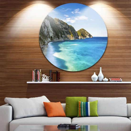 Designart Portoferraio Sansone White Beach ExtraLarge Seashore Metal Circle Wall Art