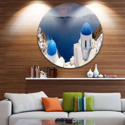Designart Blue Doomes Churches Panorama LandscapePrint Wall Artwork