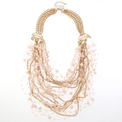 Bijoux Bar Womens Pink Collar Necklace