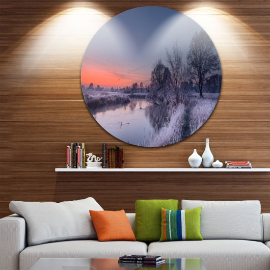 Designart Frosty Fall Morning Panorama LandscapePrint Wall Artwork
