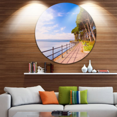 Designart Promenade and Pine Trees in Italy Oversized Landscape Wall Art Print