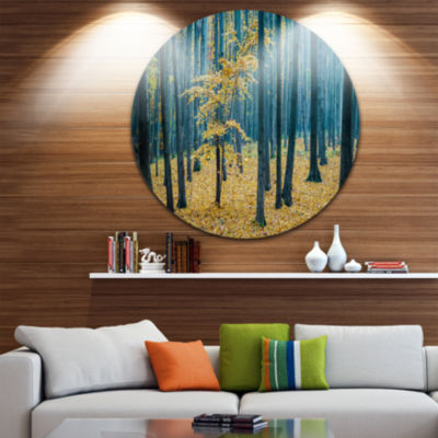 Designart Dense Autumn Beach Forest Oversized Forest Metal Artwork