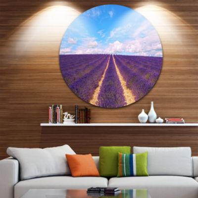 Designart Blooming Lavender Flower Field OversizedLandscape Wall Art Print