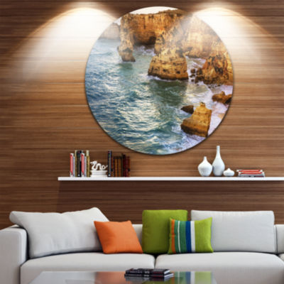 Designart Golden Rocks and Beach at Algarve ExtraLarge Seashore Metal Circle Wall Art
