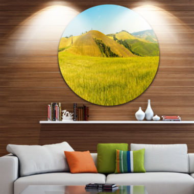 Designart Tuscany Wheat Field on Sunny Day Landscape Print Wall Artwork
