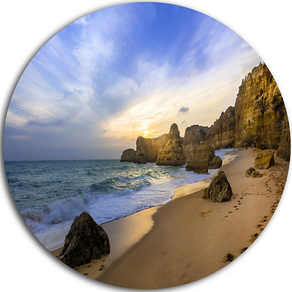 Designart Beautiful Sunset over Algarve PortugalExtra Large Seashore Metal Circle Wall Art