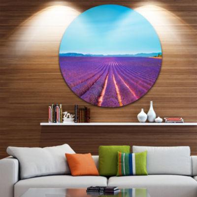Designart Lavender Flowers and Clear Sky OversizedLandscape Wall Art Print