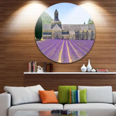 Designart Abbey of Senanque Blooming Lavender Oversized Landscape Wall Art Print