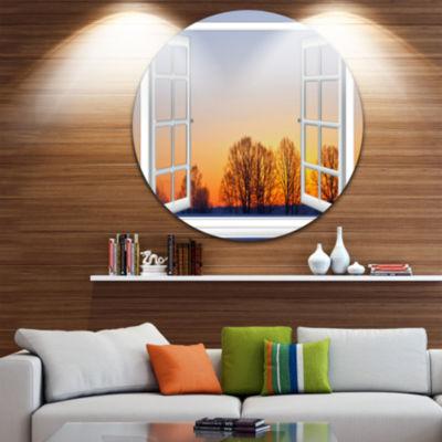 Designart Window to Sunset over the Snow OversizedLandscape Wall Art Print