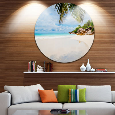 Designart Summer Beach with Palm Leaves SeascapeMetal Artwork