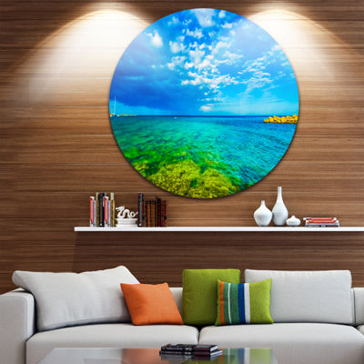 Designart Picturesque Green Blue Seashore SeascapeMetal Artwork