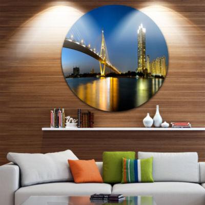Designart Lit up Bhumibol Bridge at Dusk CityscapeMetal Circle Wall Art