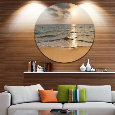 Designart Dark Tropical Sand Beach at Sunset Seascape Metal Artwork
