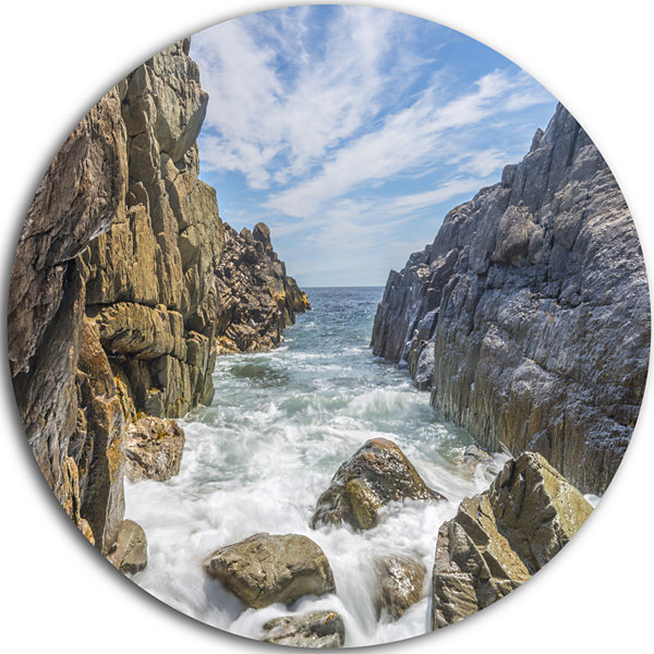 Designart Sea Waves Hitting Rocky Shore SeascapeMetal Artwork