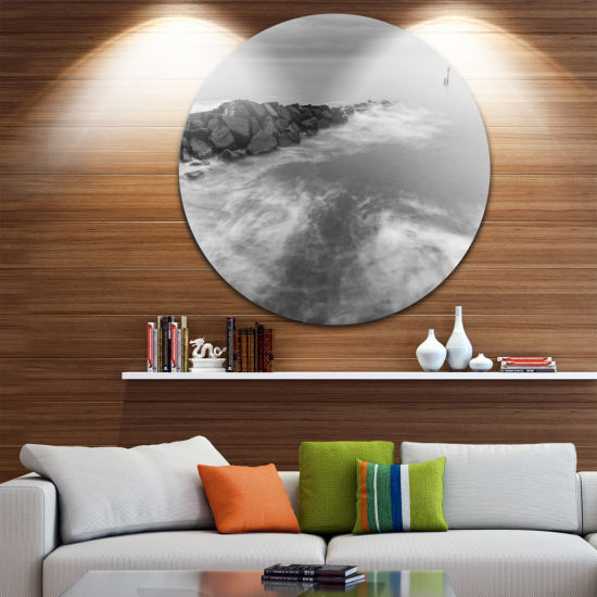 Designart Milky Waves Splashing Over Rocks Seascape Metal Artwork