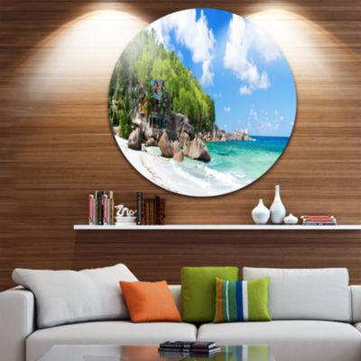 Designart Takamaka Beach in Mahe Island SeascapeMetal Artwork