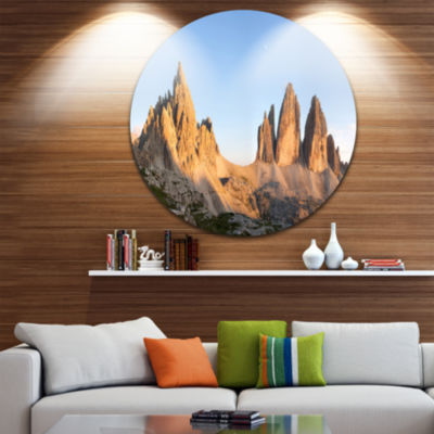 Designart Tre Cime and Monte Paterno at Sunset Landscape Metal Circle Wall Art