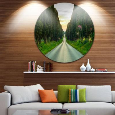 Designart Straight Road through Cypress Trees Oversized Landscape Wall Art Print