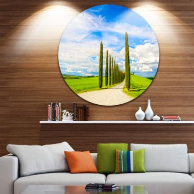 Designart White Road through Cypress Trees Oversized Landscape Wall Art Print