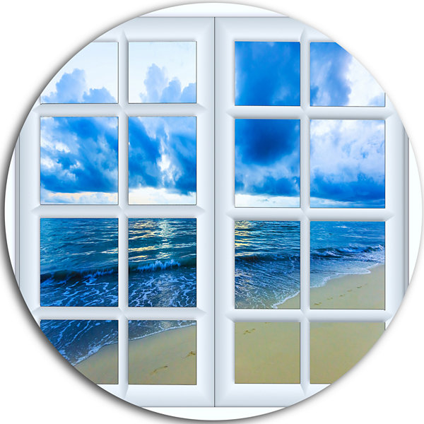 Designart Closed Window to Blue Seascape OversizedLandscape Wall Art Print