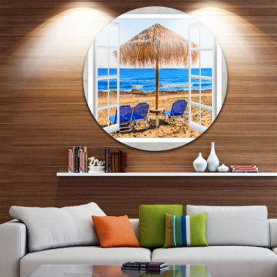Designart Window Open to Beach Hut with Chairs Extra Large Seashore Metal Circle Wall Art