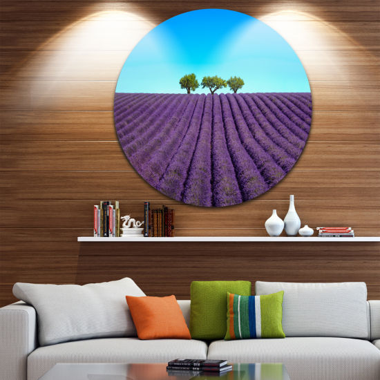 Designart Lavender Flowers and Uphill Green TreesOversized Landscape Wall Art Print