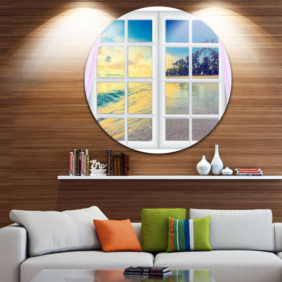 Designart Closed Window to Ocean Sunset OversizedLandscape Wall Art Print