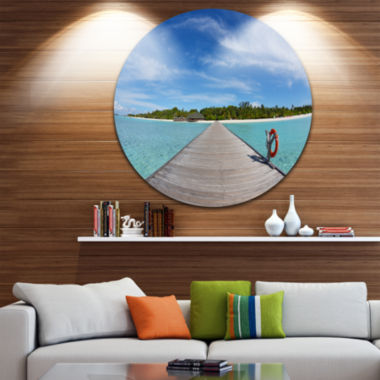 Designart Wooden Pier at Tropical Beach Wooden SeaBridge Metal Circle Wall Art