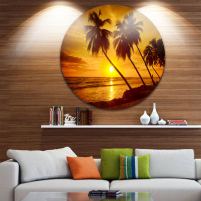 Designart Beach Sunset in Island Barbados SeascapeMetal Artwork