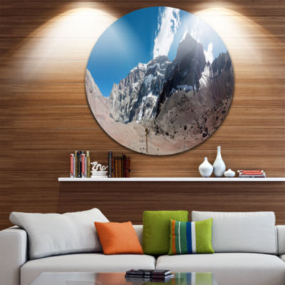 Designart Trekking to Plaza Francia Panorama Landscape Metal Circle Wall Art
