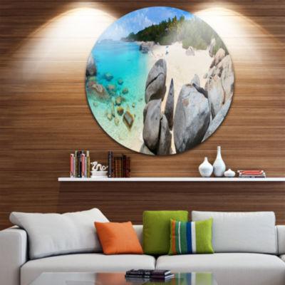 Designart Turquoise Ocean Water with Rocks Seascape Metal Artwork