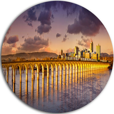 Designart Pennsylvania Railroad Bridge Skyline Landscape Metal Circle Wall Art