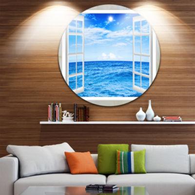 Designart Window Open to Blue Wavy Ocean Extra Large Seashore Metal Circle Wall Art